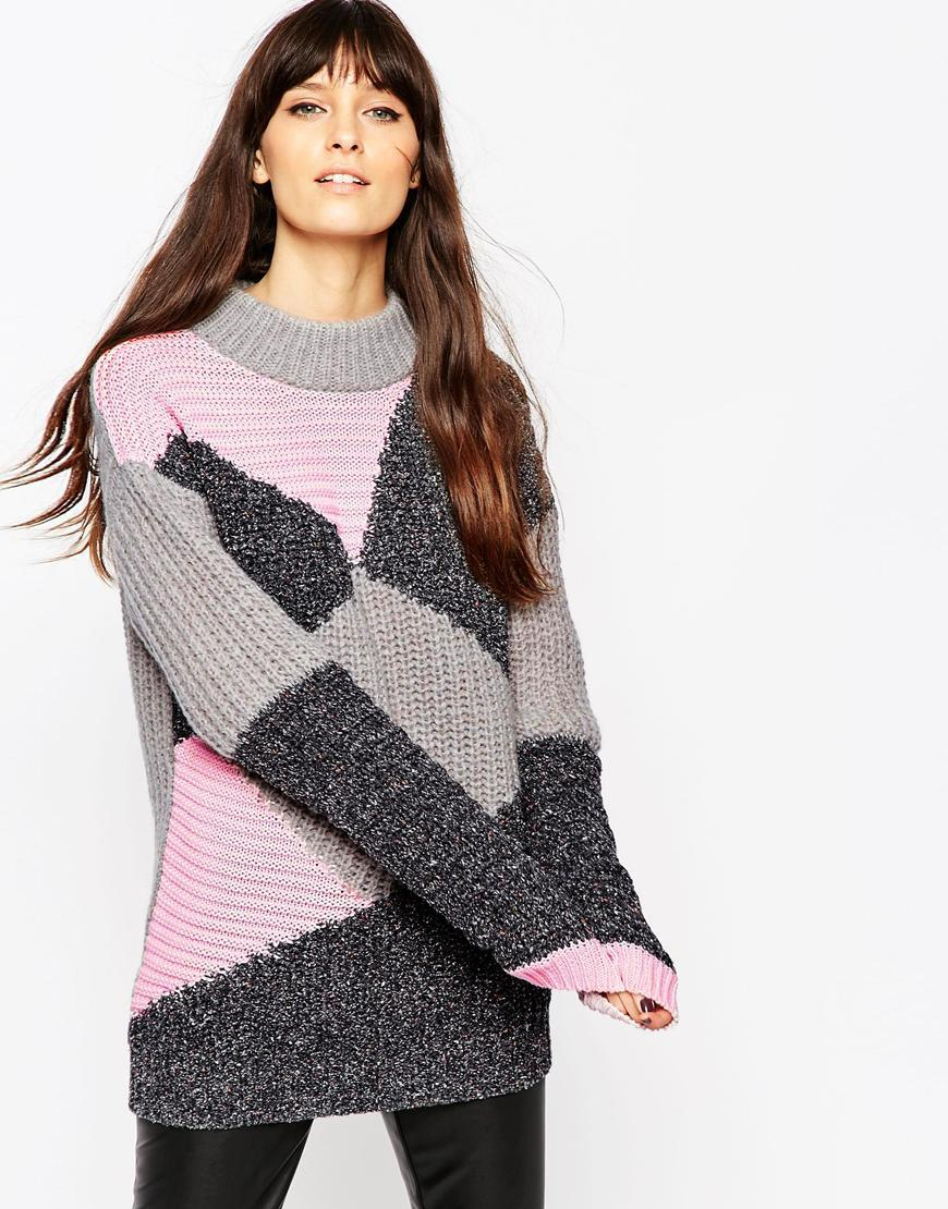 Jumper In Patchwork Multi - sleeve style: dolman/batwing; neckline: roll neck; style: standard; secondary colour: blush; predominant colour: charcoal; occasions: casual; fibres: acrylic - mix; fit: standard fit; length: mid thigh; sleeve length: long sleeve; texture group: knits/crochet; pattern type: knitted - other; pattern: colourblock; pattern size: big & busy (top); season: a/w 2015; wardrobe: highlight; embellishment location: shoulder