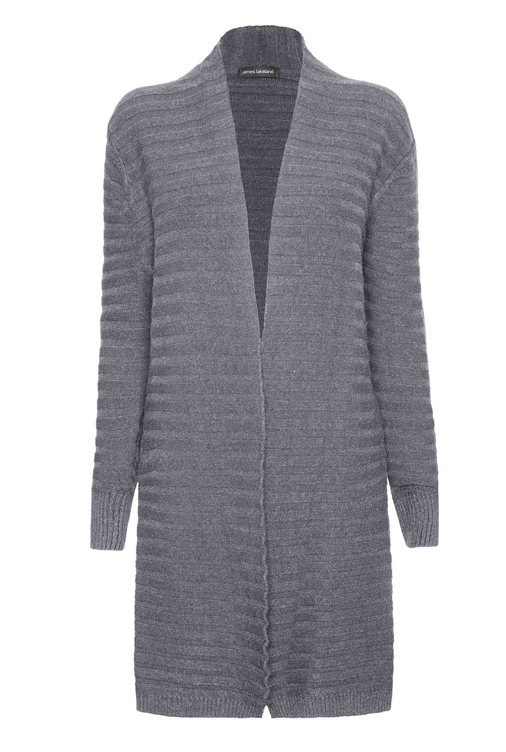 Ribbed Cardigan, Grey - pattern: plain; neckline: collarless open; style: open front; predominant colour: mid grey; occasions: casual; fibres: nylon - mix; fit: loose; length: mid thigh; sleeve length: long sleeve; sleeve style: standard; texture group: knits/crochet; pattern type: fabric; season: a/w 2015; wardrobe: basic