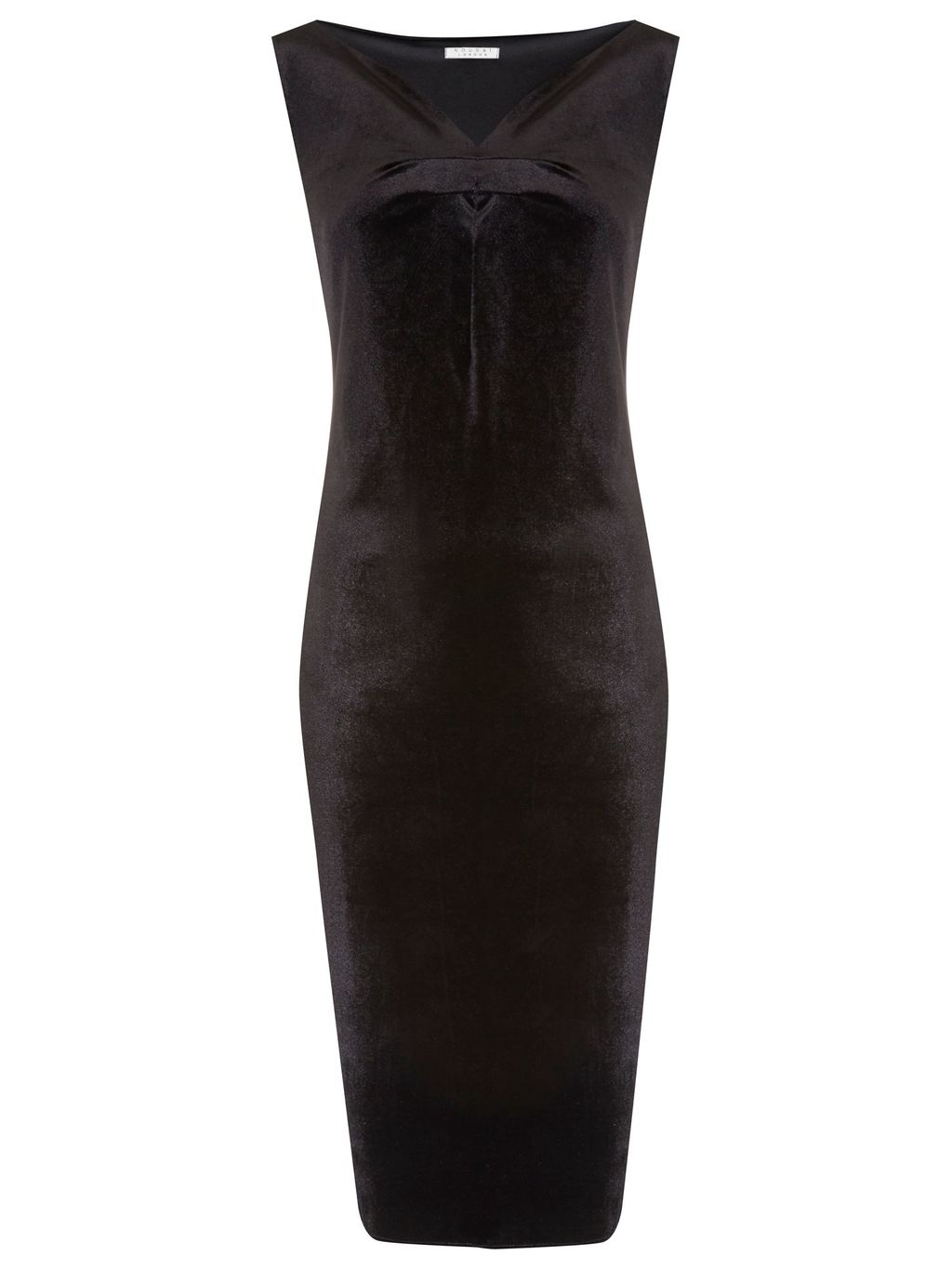 Mayfair Velvet Dress, Black - neckline: v-neck; fit: tight; pattern: plain; sleeve style: sleeveless; style: bodycon; predominant colour: black; occasions: evening; length: on the knee; fibres: polyester/polyamide - stretch; sleeve length: sleeveless; pattern type: fabric; texture group: velvet/fabrics with pile; season: a/w 2015; wardrobe: event