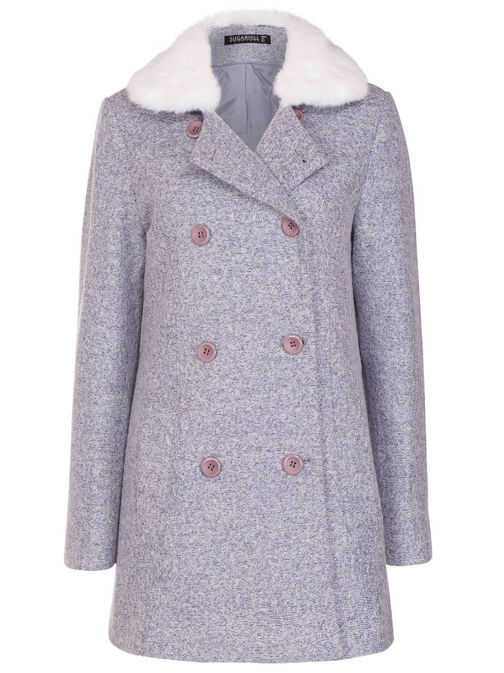 Becky Coat, Blue - length: below the bottom; style: double breasted; collar: standard lapel/rever collar; secondary colour: white; predominant colour: lilac; occasions: work, creative work; fit: tailored/fitted; fibres: wool - mix; sleeve length: long sleeve; sleeve style: standard; collar break: medium; pattern type: fabric; texture group: woven bulky/heavy; pattern: marl; season: a/w 2015; wardrobe: highlight