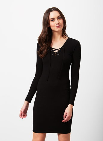 Womens Black Eyelet Rib Dress, Black - style: shift; length: mid thigh; neckline: v-neck; pattern: plain; predominant colour: black; occasions: evening, creative work; fit: body skimming; sleeve length: long sleeve; sleeve style: standard; pattern type: fabric; texture group: jersey - stretchy/drapey; season: a/w 2015; wardrobe: investment