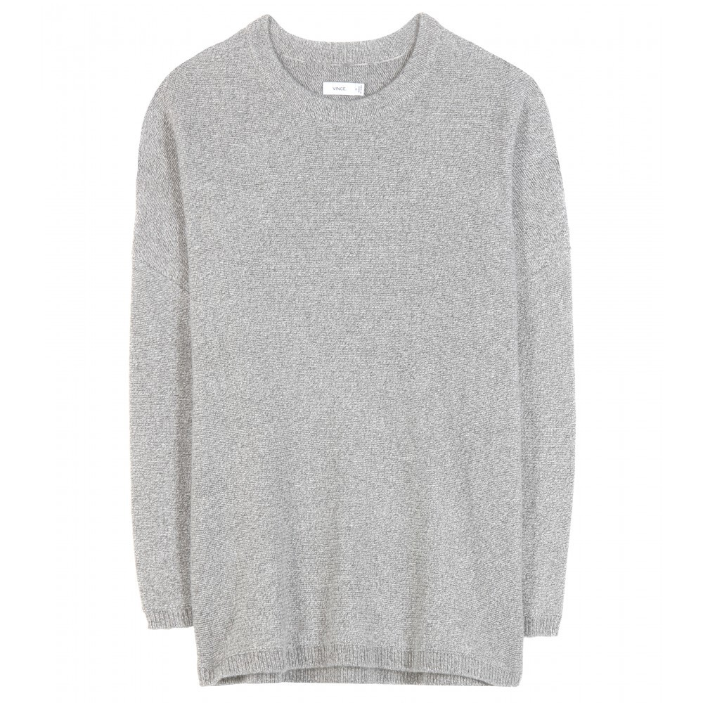 Wool And Cashmere Sweater - pattern: plain; style: standard; predominant colour: light grey; occasions: casual, creative work; length: standard; fibres: wool - mix; fit: slim fit; neckline: crew; sleeve length: long sleeve; sleeve style: standard; texture group: knits/crochet; pattern type: fabric; season: a/w 2015