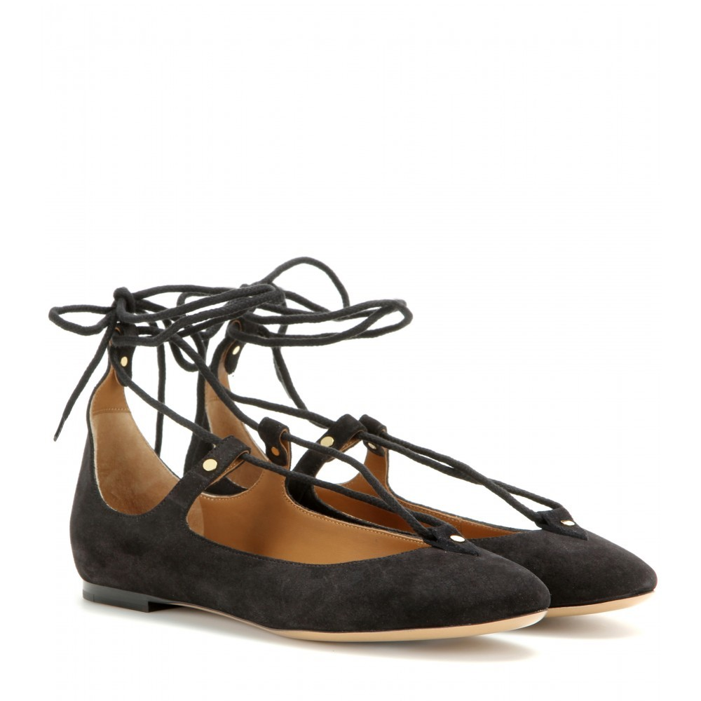 Suede Lace Up Ballerinas - predominant colour: black; occasions: casual, creative work; material: suede; heel height: flat; ankle detail: ankle tie; toe: round toe; style: ballerinas / pumps; finish: plain; pattern: plain; season: a/w 2015; wardrobe: basic