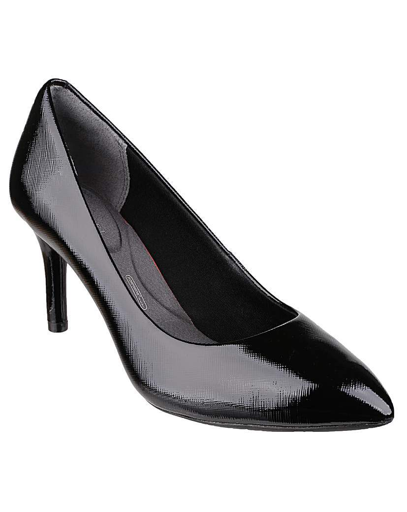 Total Motion Plain Pump - predominant colour: black; occasions: evening; material: leather; heel height: high; heel: stiletto; toe: pointed toe; style: courts; finish: patent; pattern: plain; season: a/w 2015; wardrobe: event