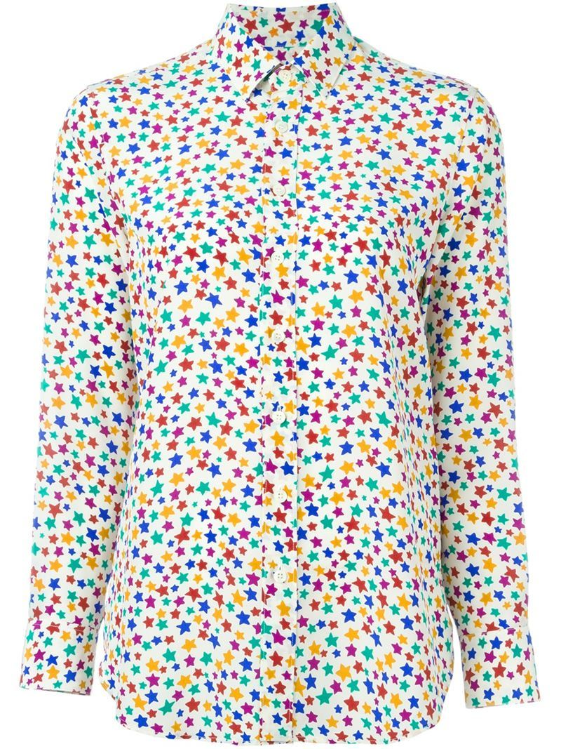 Star Print Shirt, Women's - neckline: shirt collar/peter pan/zip with opening; style: shirt; predominant colour: yellow; secondary colour: yellow; occasions: casual; length: standard; fibres: silk - 100%; fit: body skimming; sleeve length: long sleeve; sleeve style: standard; pattern type: fabric; pattern: patterned/print; texture group: other - light to midweight; multicoloured: multicoloured; season: a/w 2015