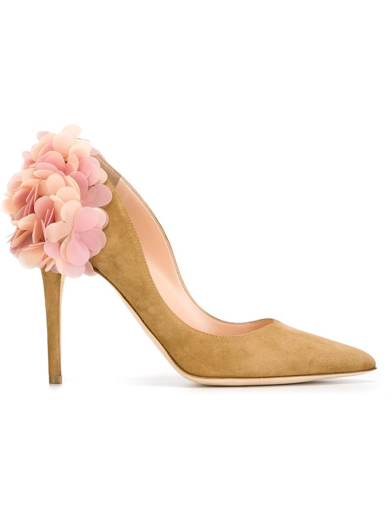 Floral Appliqué Pumps, Women's, Brown - secondary colour: pink; predominant colour: tan; occasions: evening, occasion; material: suede; heel height: high; heel: stiletto; toe: pointed toe; style: courts; finish: plain; pattern: plain; embellishment: corsage; season: a/w 2015