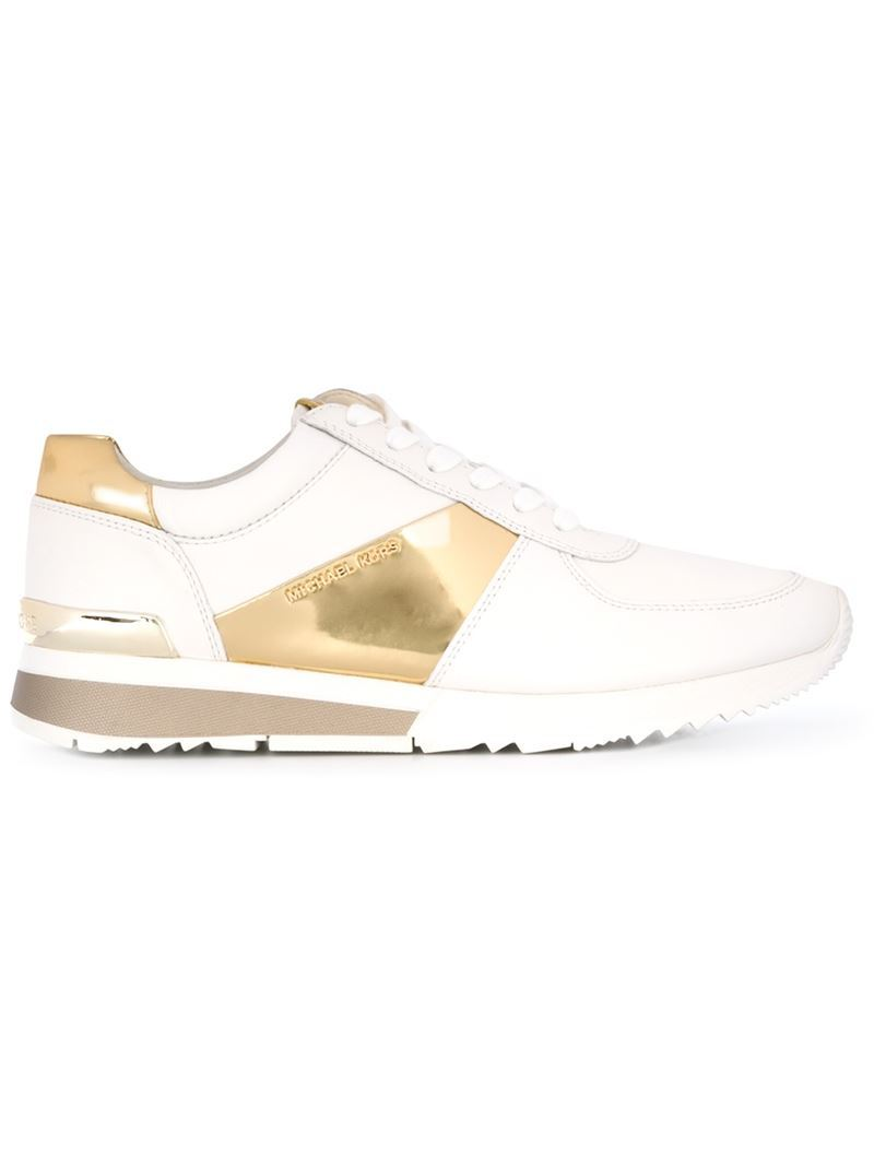 'allie' Sneakers - predominant colour: white; secondary colour: gold; occasions: casual, creative work; material: leather; heel height: flat; toe: round toe; style: trainers; finish: metallic; pattern: plain; shoe detail: moulded soul; season: a/w 2015