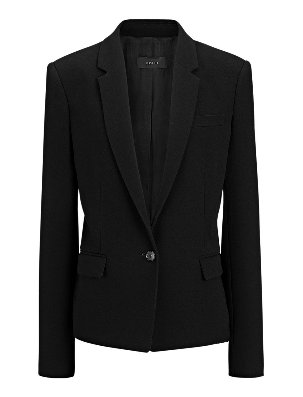 Crepe Stretch New Will Jacket In Black - pattern: plain; style: single breasted blazer; collar: standard lapel/rever collar; predominant colour: black; occasions: work, creative work; length: standard; fit: straight cut (boxy); sleeve length: long sleeve; sleeve style: standard; collar break: low/open; pattern type: fabric; texture group: woven light midweight; fibres: viscose/rayon - mix; season: a/w 2015