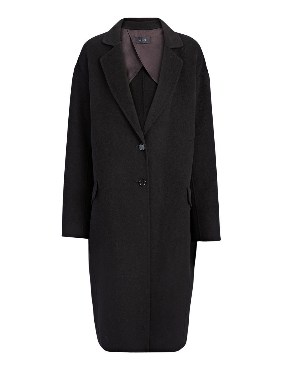 Light Double Cashmere Sido Coat In Black - pattern: plain; style: single breasted; length: on the knee; collar: standard lapel/rever collar; predominant colour: black; occasions: casual, work, creative work; fit: straight cut (boxy); fibres: wool - mix; sleeve length: long sleeve; sleeve style: standard; collar break: medium; pattern type: fabric; texture group: woven light midweight; season: a/w 2015; wardrobe: basic