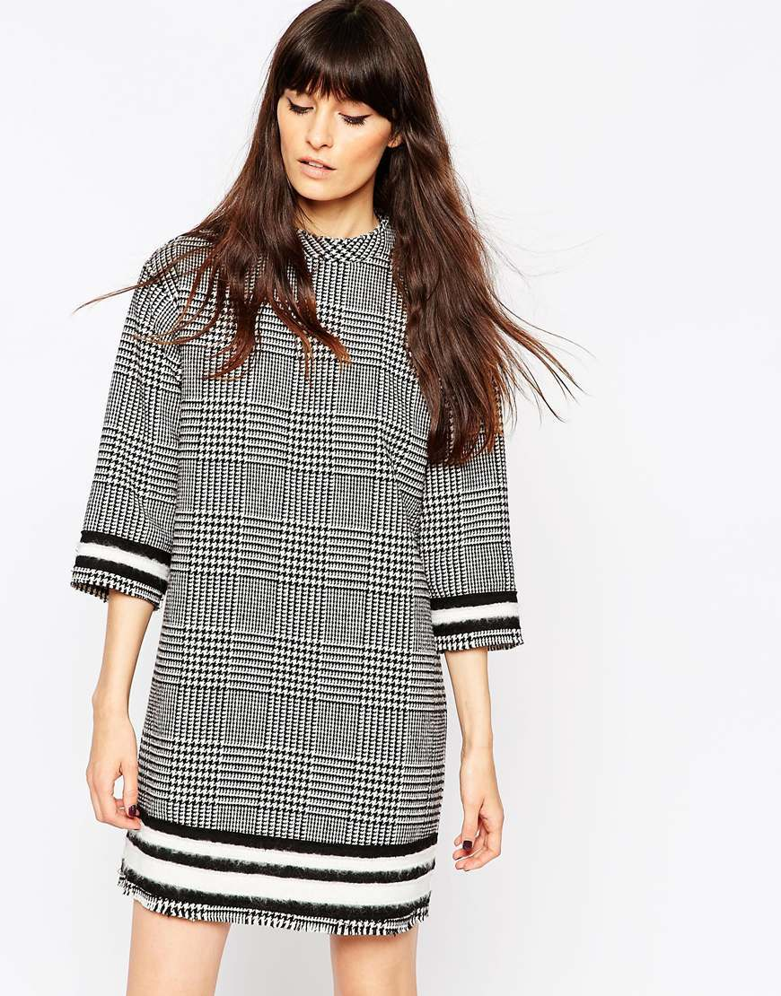 Tweed Check Tunic Dress Multi - style: tunic; length: mid thigh; pattern: herringbone/tweed; predominant colour: mid grey; secondary colour: black; occasions: casual, creative work; fit: straight cut; fibres: polyester/polyamide - stretch; neckline: crew; sleeve length: 3/4 length; sleeve style: standard; pattern type: fabric; pattern size: standard; texture group: tweed - light/midweight; season: a/w 2015; wardrobe: highlight