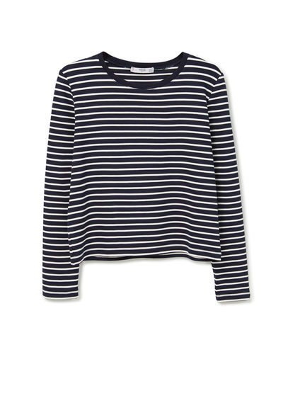 Striped T Shirt - neckline: round neck; pattern: horizontal stripes; style: t-shirt; secondary colour: white; predominant colour: black; occasions: casual, creative work; length: standard; fit: body skimming; sleeve length: long sleeve; sleeve style: standard; pattern type: fabric; texture group: jersey - stretchy/drapey; fibres: viscose/rayon - mix; season: a/w 2015