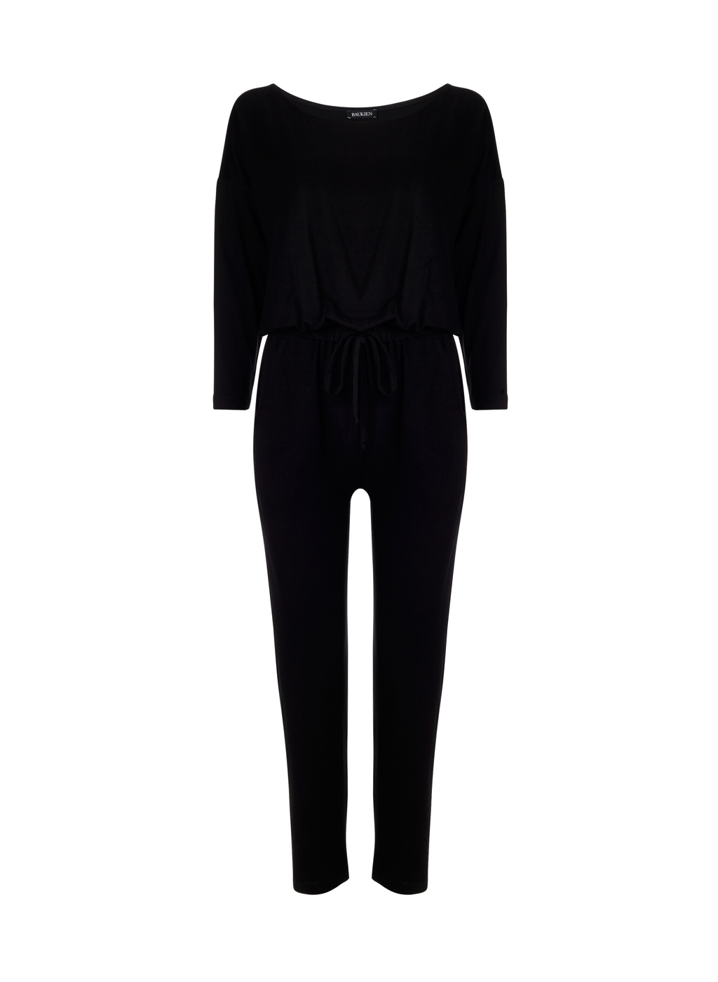 Womenswear Crofton Jumpsuit - length: standard; neckline: round neck; fit: fitted at waist; pattern: plain; predominant colour: black; fibres: viscose/rayon - stretch; sleeve length: 3/4 length; sleeve style: standard; style: jumpsuit; pattern type: fabric; texture group: jersey - stretchy/drapey; occasions: creative work; season: a/w 2015; wardrobe: highlight