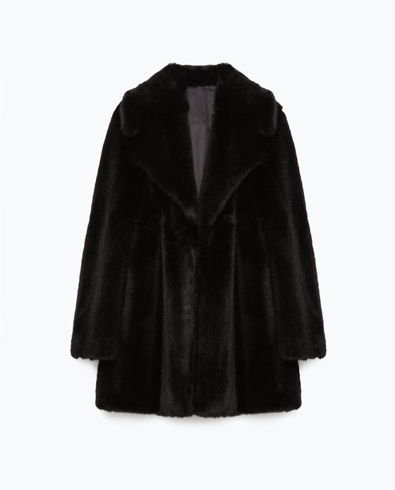 Studio Faux Fur Coat - pattern: plain; style: single breasted; length: mid thigh; predominant colour: black; occasions: evening; fit: straight cut (boxy); fibres: acrylic - 100%; sleeve length: long sleeve; sleeve style: standard; texture group: fur; collar: fur; collar break: medium; pattern type: fabric; season: a/w 2015; wardrobe: event
