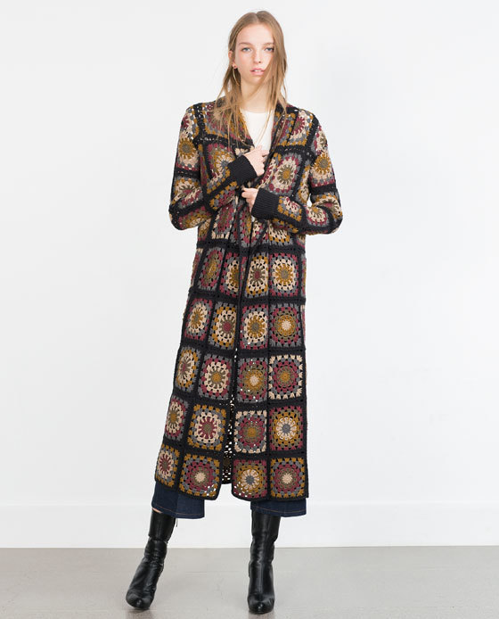 Crochet Patchwork Coat - style: single breasted; collar: standard lapel/rever collar; length: calf length; predominant colour: chocolate brown; secondary colour: black; occasions: casual; fit: straight cut (boxy); fibres: acrylic - mix; sleeve length: long sleeve; sleeve style: standard; collar break: medium; pattern type: fabric; pattern size: standard; pattern: patterned/print; texture group: woven bulky/heavy; season: a/w 2015