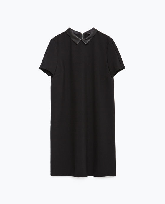 Dress With Faux Leather Collar - style: shift; length: mid thigh; pattern: plain; predominant colour: black; occasions: evening, creative work; fit: straight cut; fibres: polyester/polyamide - 100%; neckline: no opening/shirt collar/peter pan; sleeve length: short sleeve; sleeve style: standard; texture group: crepes; pattern type: fabric; season: a/w 2015