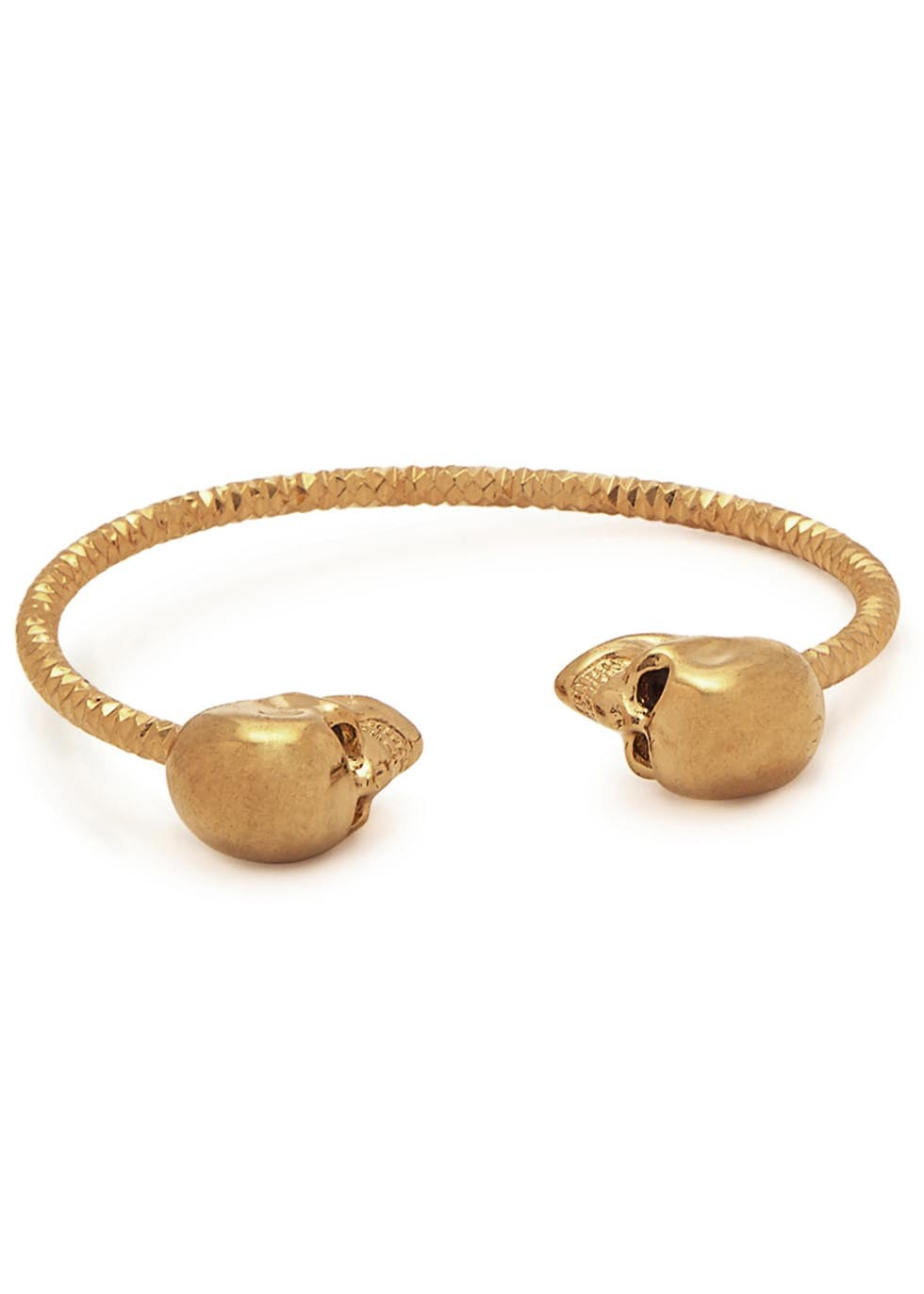 Twin Skull Gold Tone Bracelet - predominant colour: gold; occasions: evening; style: cuff; size: standard; material: chain/metal; finish: metallic; season: a/w 2015; wardrobe: event