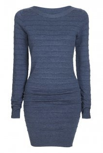Tall Textured Stripe Knitted Tunic At - pattern: plain; length: below the bottom; style: tunic; predominant colour: denim; occasions: casual; fit: body skimming; neckline: crew; sleeve length: long sleeve; sleeve style: standard; pattern type: fabric; texture group: jersey - stretchy/drapey; fibres: viscose/rayon - mix; season: a/w 2015