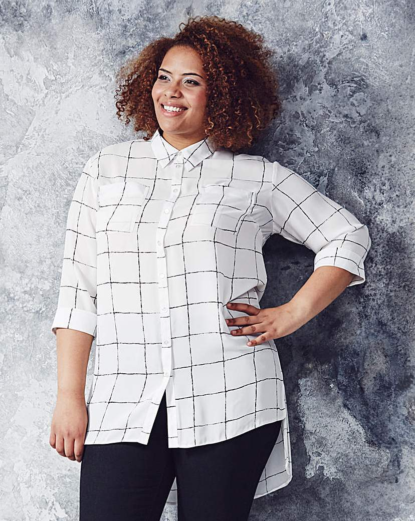 White Check Longline Blouse - neckline: shirt collar/peter pan/zip with opening; pattern: checked/gingham; style: shirt; predominant colour: white; secondary colour: black; occasions: casual, creative work; length: standard; fibres: polyester/polyamide - 100%; fit: straight cut; back detail: longer hem at back than at front; sleeve length: 3/4 length; sleeve style: standard; trends: monochrome; texture group: crepes; pattern type: fabric; pattern size: standard; season: a/w 2015