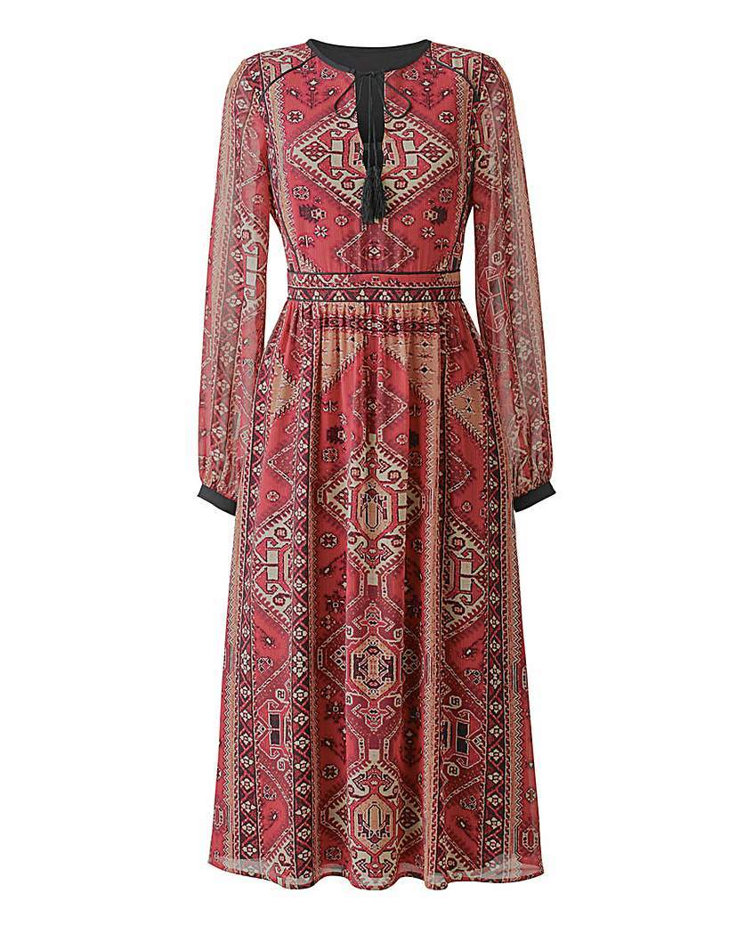 Tapestry Print Boho Dress - style: shift; length: below the knee; neckline: round neck; fit: fitted at waist; predominant colour: true red; sleeve length: long sleeve; sleeve style: standard; texture group: sheer fabrics/chiffon/organza etc.; pattern type: fabric; pattern size: standard; pattern: patterned/print; occasions: creative work; multicoloured: multicoloured; season: a/w 2015; wardrobe: highlight