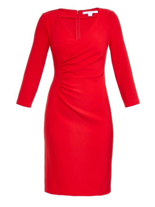 Eliana Dress - style: shift; neckline: low v-neck; fit: fitted at waist; pattern: plain; waist detail: flattering waist detail; bust detail: subtle bust detail; predominant colour: true red; length: just above the knee; fibres: polyester/polyamide - stretch; occasions: occasion; sleeve length: long sleeve; sleeve style: standard; pattern type: fabric; texture group: jersey - stretchy/drapey; season: a/w 2015; wardrobe: event
