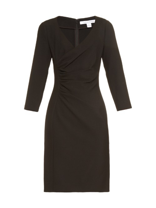 Eliana Dress - style: faux wrap/wrap; neckline: v-neck; pattern: plain; predominant colour: black; occasions: evening; length: just above the knee; fit: body skimming; fibres: polyester/polyamide - stretch; sleeve length: long sleeve; sleeve style: standard; pattern type: fabric; texture group: jersey - stretchy/drapey; season: a/w 2015; wardrobe: event