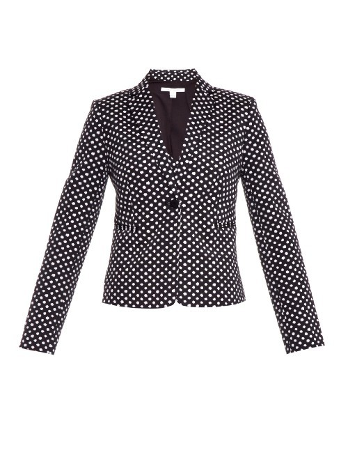 Jennie Jacket - style: single breasted blazer; collar: standard lapel/rever collar; secondary colour: white; predominant colour: black; occasions: casual, creative work; length: standard; fit: tailored/fitted; sleeve length: long sleeve; sleeve style: standard; collar break: medium; pattern type: fabric; pattern: patterned/print; texture group: woven light midweight; season: a/w 2015; wardrobe: highlight