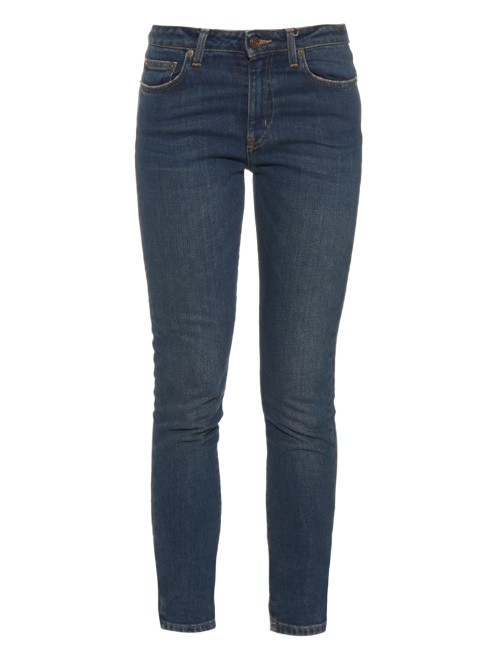 High Rise Skinny Cropped Jeans - style: skinny leg; length: standard; pattern: plain; pocket detail: traditional 5 pocket; waist: mid/regular rise; predominant colour: denim; occasions: casual; fibres: cotton - stretch; texture group: denim; pattern type: fabric; season: a/w 2015; wardrobe: basic