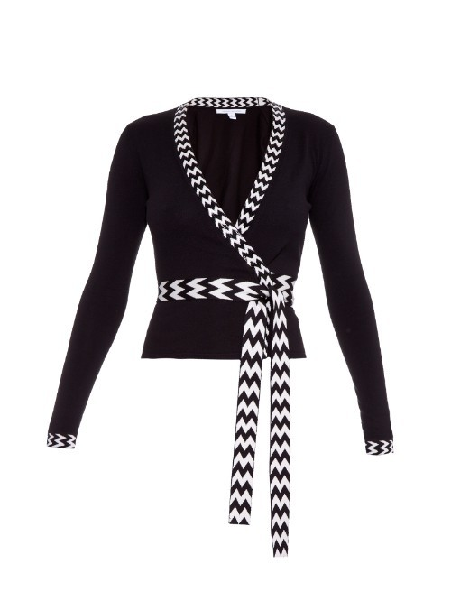 Ballerina Wrap Cardigan - neckline: low v-neck; pattern: striped; secondary colour: white; predominant colour: black; occasions: casual, creative work; length: standard; style: standard; fibres: silk - mix; fit: slim fit; hip detail: contrast fabric/print detail at hip; waist detail: belted waist/tie at waist/drawstring; sleeve length: long sleeve; sleeve style: standard; trends: monochrome; texture group: knits/crochet; pattern type: knitted - fine stitch; pattern size: standard; season: a/w 2015