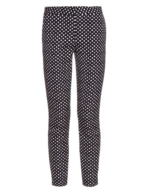 Genesis Trousers - pattern: polka dot; waist: mid/regular rise; secondary colour: white; predominant colour: navy; occasions: casual, creative work; length: ankle length; fibres: cotton - stretch; waist detail: feature waist detail; fit: slim leg; pattern type: fabric; texture group: woven light midweight; style: standard; pattern size: standard (bottom); season: a/w 2015; wardrobe: highlight