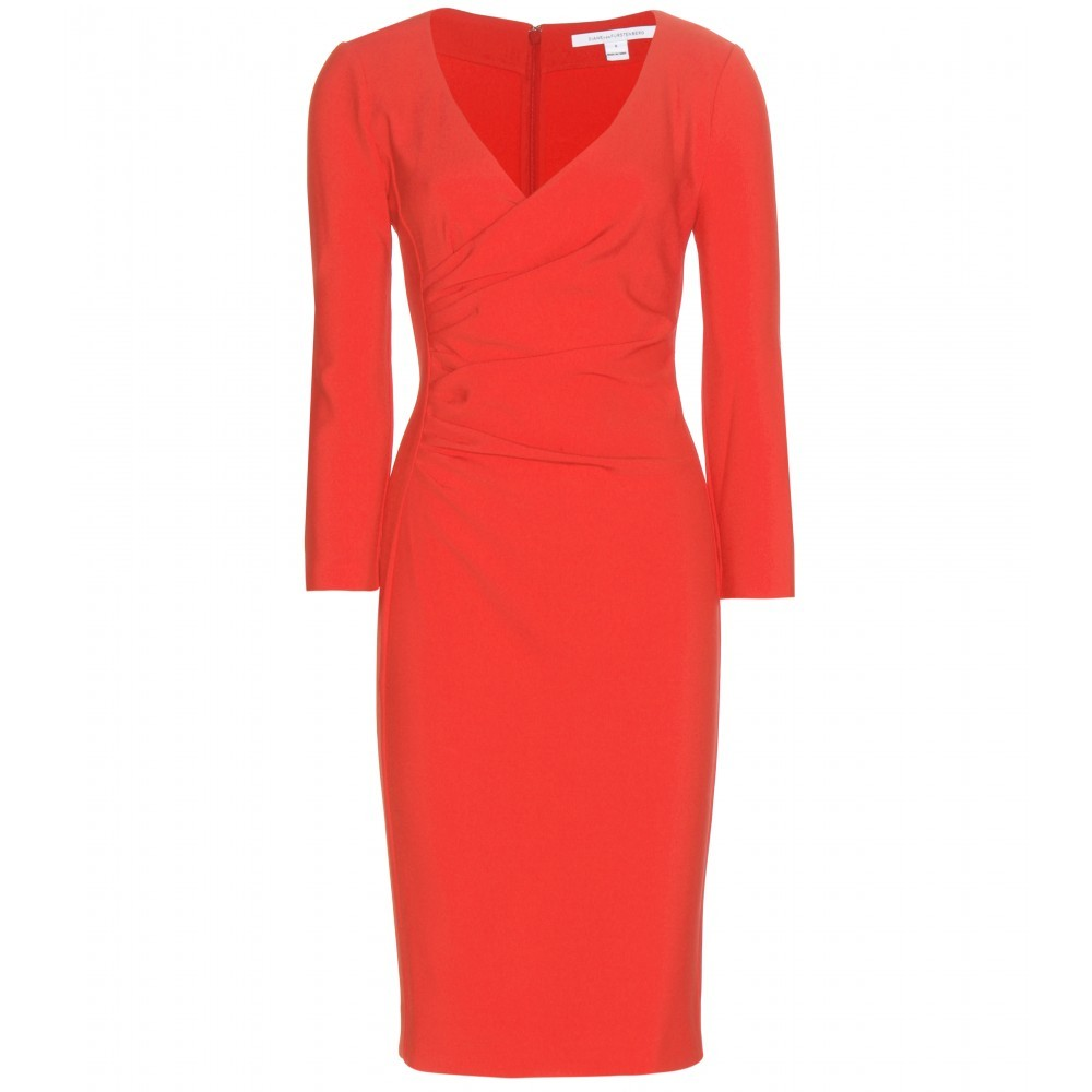 Eliana Crêpe Dress - style: shift; length: below the knee; neckline: low v-neck; fit: tailored/fitted; pattern: plain; predominant colour: true red; occasions: occasion; sleeve length: 3/4 length; sleeve style: standard; pattern type: fabric; texture group: jersey - stretchy/drapey; season: a/w 2015; wardrobe: event