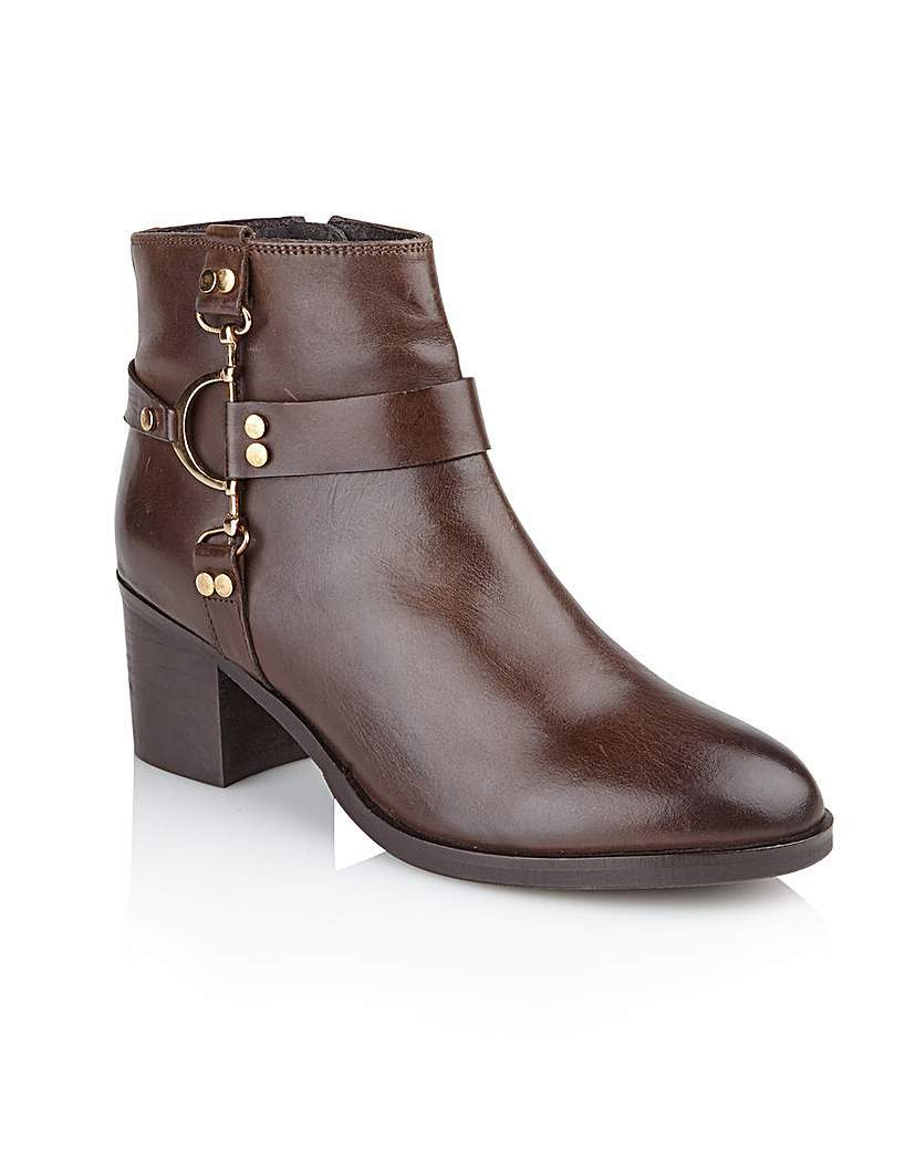 'bakersfield' Ladies Ankle Boots - predominant colour: chocolate brown; occasions: casual, creative work; material: leather; heel height: mid; embellishment: buckles; heel: block; toe: round toe; boot length: ankle boot; style: standard; finish: plain; pattern: plain; season: a/w 2015; wardrobe: basic