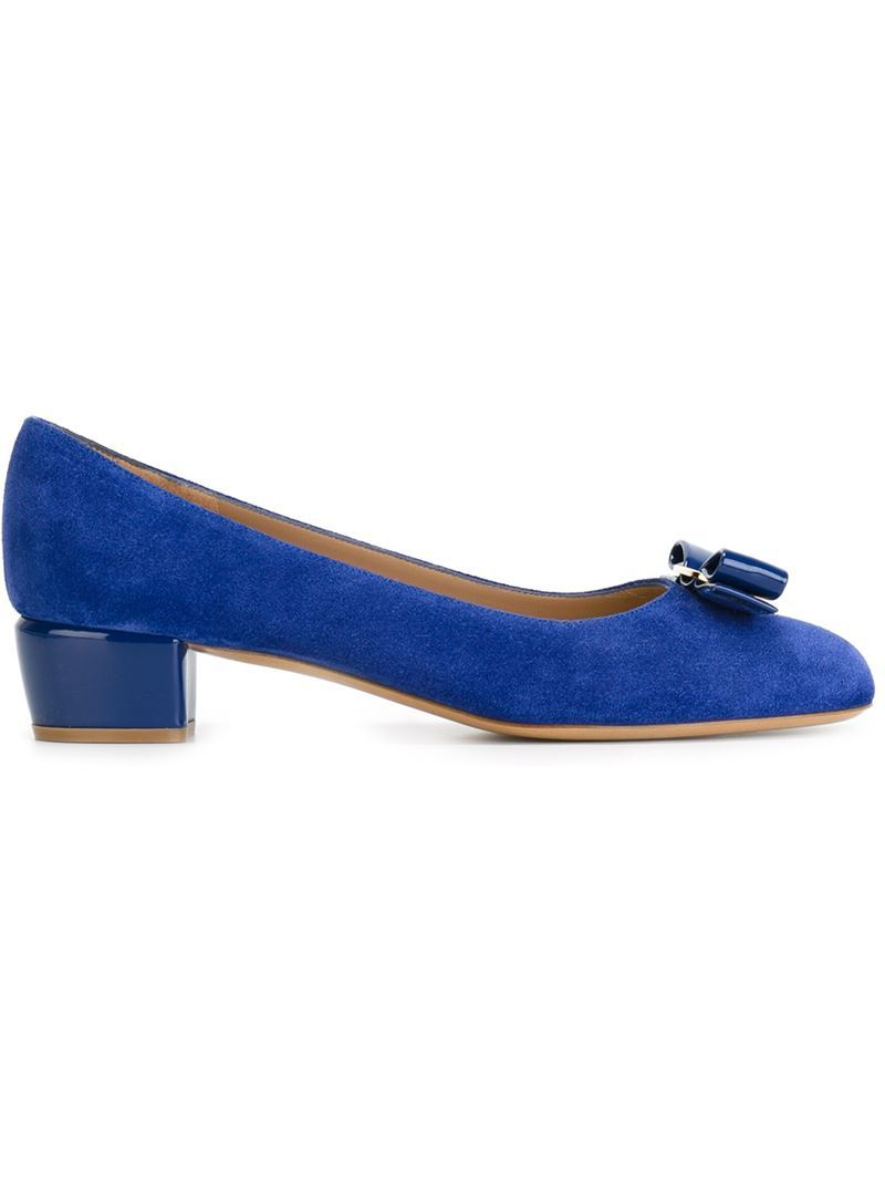 'vara' Pumps, Women's, Size: 4.5, Blue - predominant colour: royal blue; occasions: work, creative work; material: suede; heel height: mid; heel: block; toe: round toe; style: courts; finish: plain; pattern: plain; embellishment: bow; season: a/w 2015; wardrobe: highlight