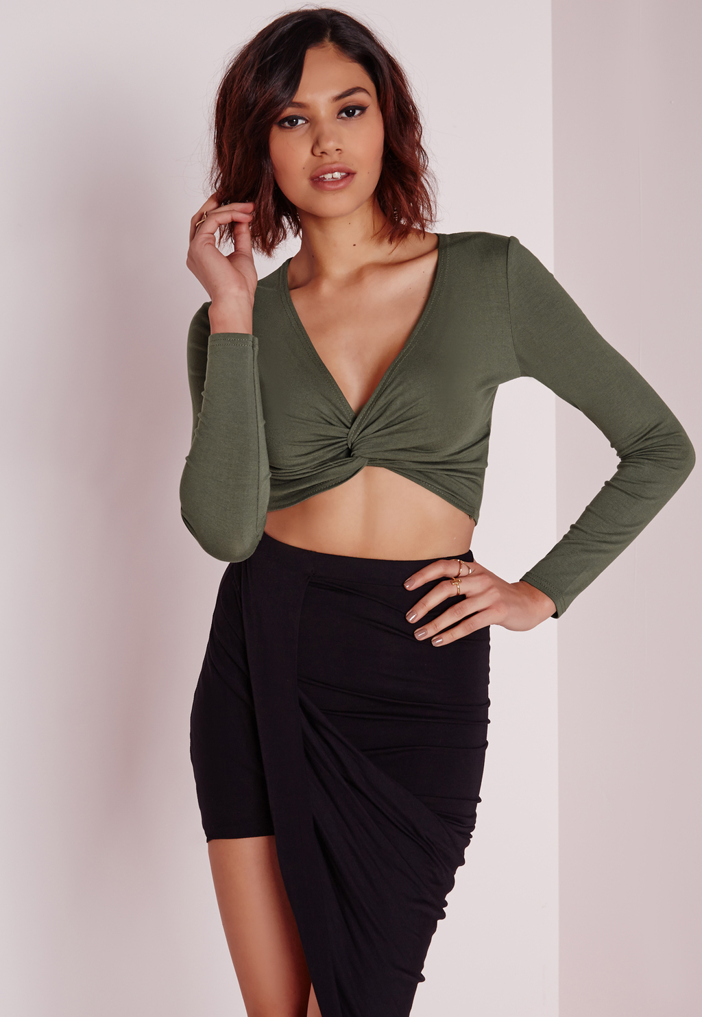 Twist Front Detail Crop Top Khaki, Beige - neckline: v-neck; pattern: plain; length: cropped; predominant colour: khaki; occasions: casual, evening; style: top; fibres: viscose/rayon - stretch; fit: body skimming; sleeve length: long sleeve; sleeve style: standard; texture group: jersey - stretchy/drapey; season: a/w 2015