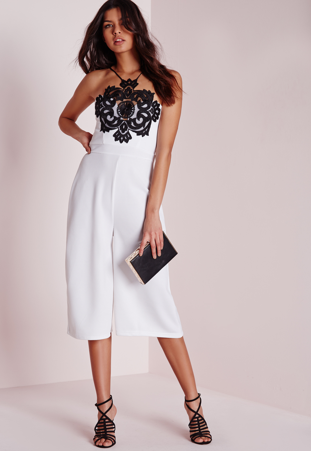 Lace Trim Stappy Culotte Jumpsuit Monochrome, Black - sleeve style: sleeveless; neckline: low halter neck; secondary colour: white; predominant colour: black; length: calf length; fit: fitted at waist & bust; fibres: polyester/polyamide - stretch; occasions: occasion; sleeve length: sleeveless; style: jumpsuit; pattern type: fabric; pattern: patterned/print; texture group: other - light to midweight; embellishment: lace; season: a/w 2015; wardrobe: event; embellishment location: bust