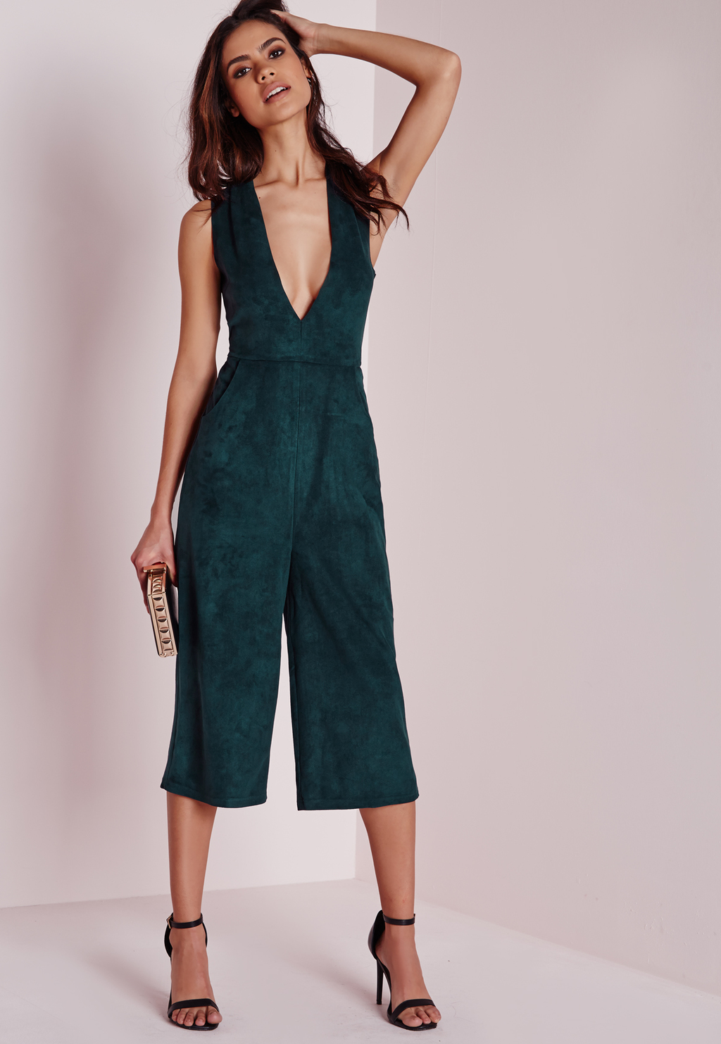 Faux Suede Culotte Jumpsuit Teal, Blue - neckline: v-neck; fit: tailored/fitted; pattern: plain; sleeve style: sleeveless; length: below the knee; predominant colour: dark green; occasions: evening; fibres: polyester/polyamide - stretch; sleeve length: sleeveless; style: jumpsuit; pattern type: fabric; texture group: suede; season: a/w 2015; wardrobe: event
