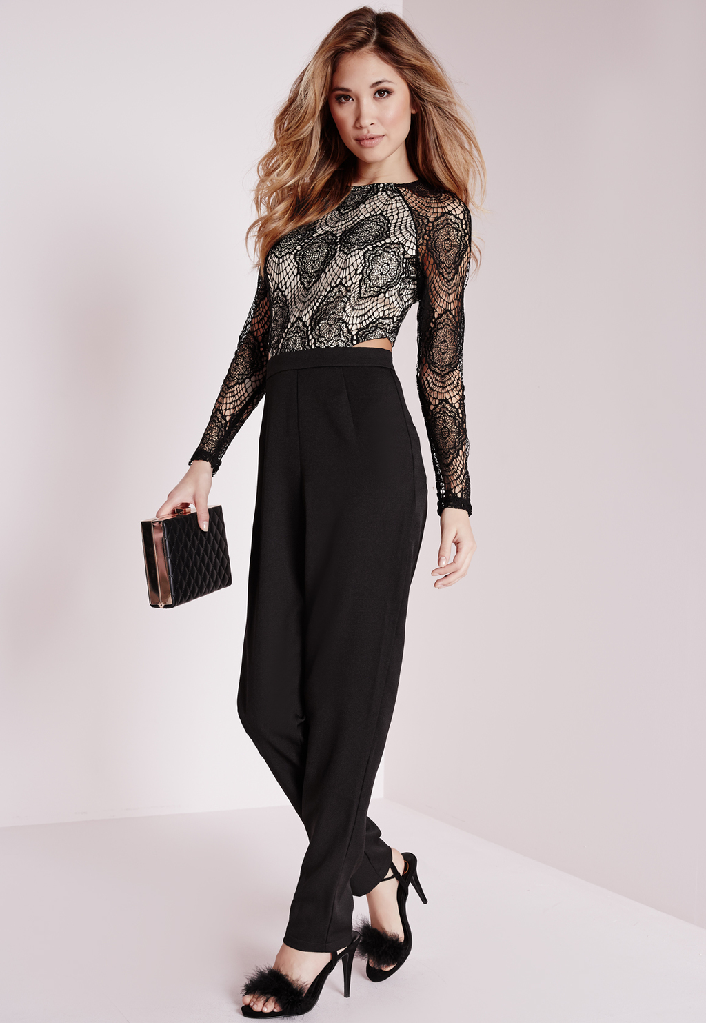 Petite Lace Cut Out Waist Jumpsuit Black, Black - length: standard; neckline: round neck; fit: tailored/fitted; predominant colour: black; occasions: evening, occasion; sleeve length: long sleeve; sleeve style: standard; style: jumpsuit; pattern type: fabric; pattern size: big & busy; pattern: patterned/print; texture group: other - light to midweight; season: a/w 2015