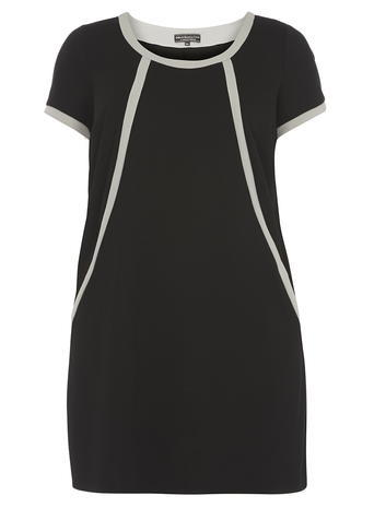 Womens **Billie & Blossom Curve Black Shift Dress Black - style: shift; length: mid thigh; neckline: round neck; secondary colour: white; predominant colour: black; occasions: evening; fit: body skimming; fibres: polyester/polyamide - stretch; sleeve length: short sleeve; sleeve style: standard; pattern type: fabric; pattern size: light/subtle; pattern: patterned/print; texture group: jersey - stretchy/drapey; season: a/w 2015; wardrobe: event