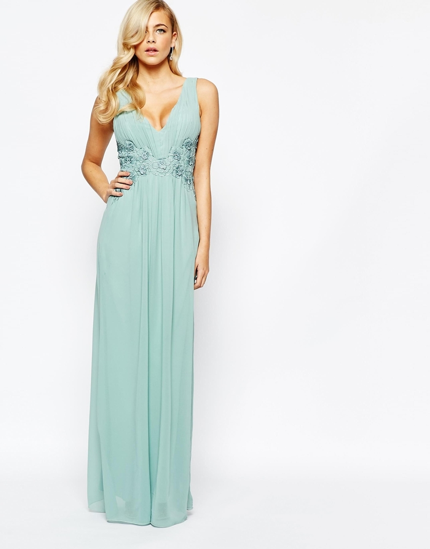 Lace Waist Maxi Dress Sage Green - neckline: low v-neck; sleeve style: standard vest straps/shoulder straps; style: maxi dress; predominant colour: pistachio; occasions: evening, occasion; length: floor length; fit: fitted at waist & bust; fibres: polyester/polyamide - 100%; sleeve length: sleeveless; texture group: sheer fabrics/chiffon/organza etc.; pattern type: fabric; pattern size: light/subtle; pattern: patterned/print; embellishment: lace; season: a/w 2015; wardrobe: event; embellishment location: waist