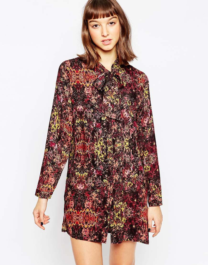 Floral Shirt Dress 999 Black - style: shirt; length: mid thigh; neckline: pussy bow; secondary colour: burgundy; predominant colour: black; occasions: casual, creative work; fit: straight cut; fibres: viscose/rayon - 100%; sleeve length: long sleeve; sleeve style: standard; pattern type: fabric; pattern size: standard; pattern: florals; texture group: other - light to midweight; multicoloured: multicoloured; season: a/w 2015; wardrobe: highlight