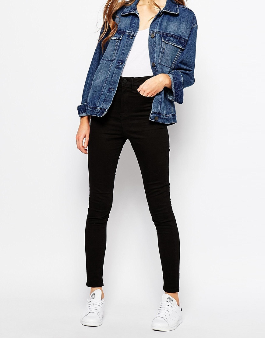 Anika High Rise Skinny Jean True Black - style: skinny leg; length: standard; pattern: plain; waist: high rise; pocket detail: traditional 5 pocket; predominant colour: black; occasions: casual; fibres: cotton - stretch; texture group: denim; pattern type: fabric; season: a/w 2015; wardrobe: basic
