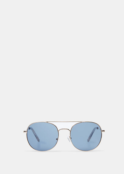 Aviator Sunglasses - predominant colour: silver; occasions: casual, holiday; style: aviator; size: standard; material: chain/metal; pattern: plain; finish: metallic; season: a/w 2015