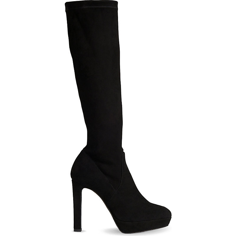 Ali Suede Knee High Boots, Women's, Eur 40 / 7 Uk Women, Bla Black - predominant colour: black; material: suede; heel: stiletto; toe: round toe; boot length: knee; style: standard; finish: plain; pattern: plain; heel height: very high; occasions: creative work; shoe detail: platform; season: a/w 2015; wardrobe: highlight
