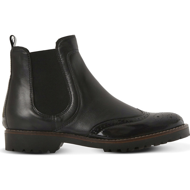 Chelsea Leather Brogue Ankle Boots, Women's, Eur 41 / 8 Uk Women, Black Leather Mix - predominant colour: black; occasions: casual, creative work; material: leather; heel height: flat; heel: block; toe: round toe; boot length: ankle boot; style: standard; finish: plain; pattern: plain; shoe detail: tread; season: a/w 2015; wardrobe: basic