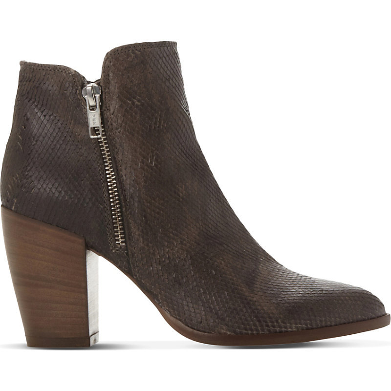 Pia Reptile Embossed Leather Ankle Boots, Women's, Eur 39 / 6 Uk Women, Taupe Reptile - predominant colour: chocolate brown; occasions: casual; material: leather; heel height: high; embellishment: zips; heel: cone; toe: pointed toe; boot length: ankle boot; style: cowboy; finish: plain; pattern: plain; season: a/w 2015