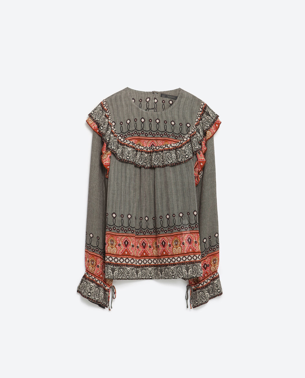 Printed Shirt - style: blouse; bust detail: ruching/gathering/draping/layers/pintuck pleats at bust; secondary colour: coral; predominant colour: light grey; occasions: casual; length: standard; fit: body skimming; neckline: crew; sleeve length: long sleeve; sleeve style: standard; pattern type: fabric; pattern size: standard; pattern: patterned/print; texture group: other - light to midweight; embellishment: embroidered; fibres: viscose/rayon - mix; multicoloured: multicoloured; season: a/w 2015