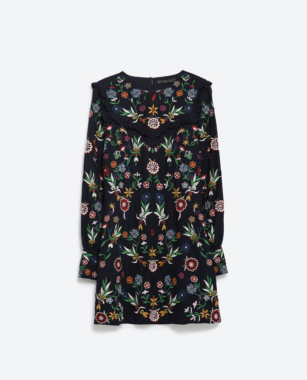 Embroidered Dress - style: shift; length: mini; secondary colour: emerald green; predominant colour: black; occasions: casual; fit: body skimming; fibres: polyester/polyamide - 100%; neckline: crew; sleeve length: long sleeve; sleeve style: standard; pattern type: fabric; pattern: florals; texture group: other - light to midweight; multicoloured: multicoloured; season: a/w 2015; wardrobe: highlight; embellishment location: bust