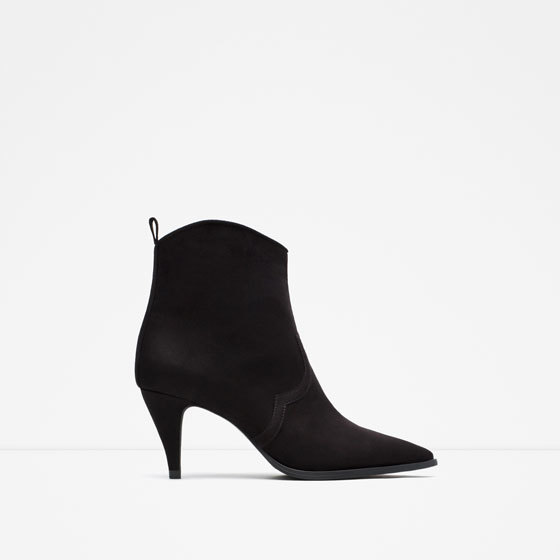 Medium Heel Pointed Ankle Boots - predominant colour: black; occasions: casual; heel height: high; heel: stiletto; toe: pointed toe; boot length: ankle boot; style: standard; finish: plain; pattern: plain; material: faux suede; season: a/w 2015; wardrobe: highlight