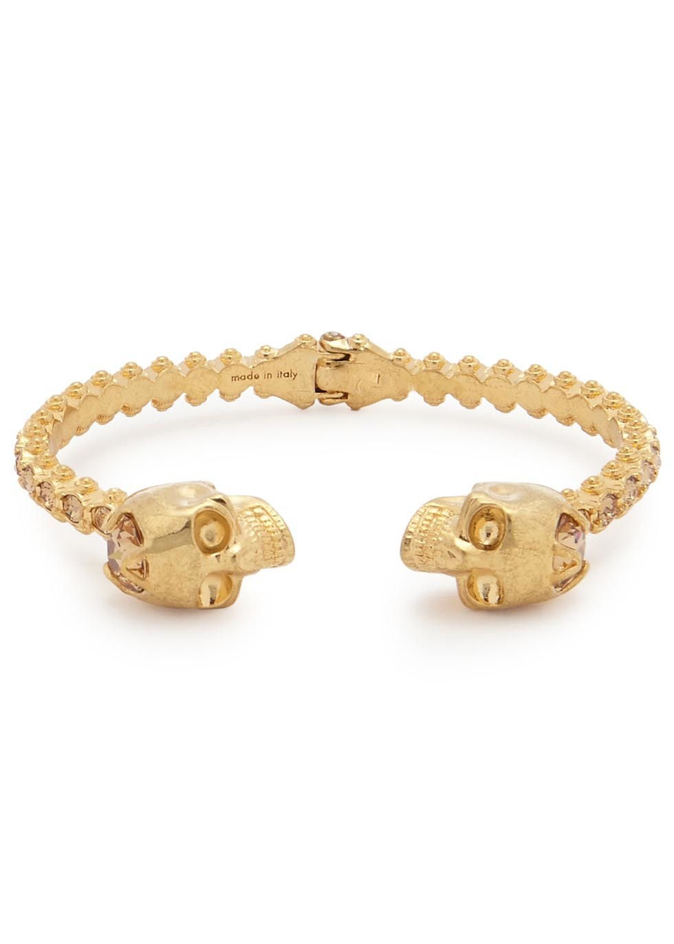 Swarovski Crystal Embellished Skull Bracelet - predominant colour: gold; occasions: casual, creative work; style: cuff; size: standard; material: chain/metal; finish: metallic; embellishment: crystals/glass; season: a/w 2015