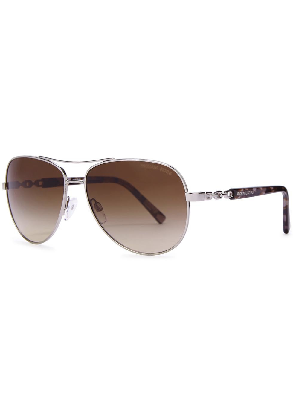 Sabina Iii Aviator Style Sunglasses - predominant colour: chocolate brown; secondary colour: gold; occasions: casual, holiday; style: aviator; size: standard; material: chain/metal; pattern: two-tone; finish: metallic; season: a/w 2015; wardrobe: highlight