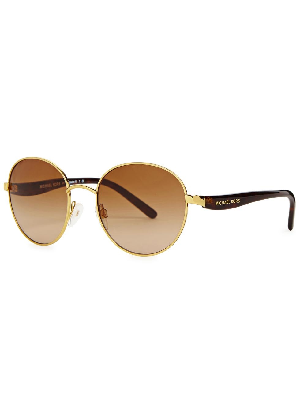 Sadie Iii Gold Tone Round Frame Sunglasses - predominant colour: gold; secondary colour: black; occasions: casual, holiday; style: round; size: standard; material: chain/metal; pattern: tortoiseshell; finish: metallic; season: a/w 2015; wardrobe: basic